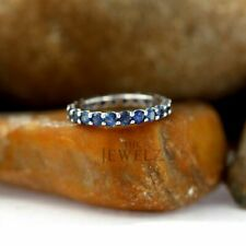 18K Gold 3.00 Ct. Genuine Blue Sapphire Gemstone Eternity Wedding Band Ring