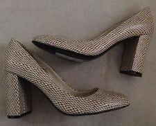 Marks & Spencer M&S Autograph Leather Beige Snake Shoes 8 42 High Block Heel