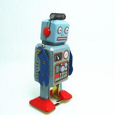 CLASSIC TINPLATE CLOCKWORK WALKING METAL ROBOT 1950s STYLE REPRODUCTION
