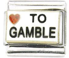9mm Italian Charm I Love To Gamble Red Glitter Heart Casino Poker Slots Link