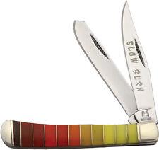 ROUGH RIDER SLOW BURN TRAPPER KNIFE, COLOR GRADIENT HANDLES, RR1437