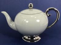"Flintridge Miramar Gray Platinum Rim 4 5/8"" Teapot & Lid 4 Cup"