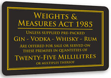 More details for 25ml weights & measures act alcohol law sign pub bar restaurant licensing notice