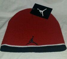 NEW NIKE AIR JORDAN YOUTH/MEN'S 8-20  BEANIE HAT CAP BLACK, RED & WHITE.