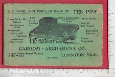 8279 Carrom Archarena Co 1910 Ten Pin board game instruction cards Ludington MI