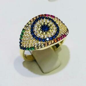 Yellow Gold Sterling Silver Pave Rainbow Sapphire Evil Eye Halo Band Ring Size 6