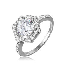 925 STERLING SILVER 6 SIDED HALO BRIDAL RING W/  DIAMOND  / SZ 5-9/ NEW DESIGN!