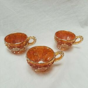 Carnival glass cup punch cups  Iridescent orange marigold hobnail 3 pieces 150ml