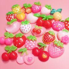 15 Kawaii Harz Frucht Cabochons süß Dekoration Basteln BEERE Charms Bügelsteine