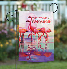 New listing New Toland - Flamingo Paradise - Tropical Bird Reflection Welcome Garden Flag