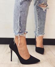 Scarpe donna decoltè con tacco alto a spillo decollete a punta in camoscio moda