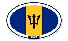 """Barbados Euro Flag Oval car window bumper sticker decal 5"""" x 3"""""""