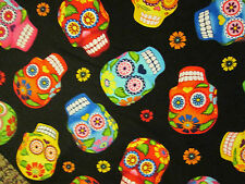 SKULLS DAY OF THE DEAD BLACK MOTORCLES ROCK COTTON FABRIC FQ