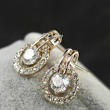 18K ROSE GOLD GF CLEAR CRYSTAL ELEGANT SPARKLING WEDDING WOMENS STUD EARRINGS