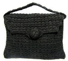 VINTAGE Black Crochet Woven Knit Large Oversized Envelope Style Clutch Bag Purse