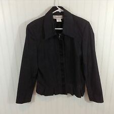 Harve Benard Womens Navy Gray Speckled Basic Jacket Sz 12 Cotton Coat