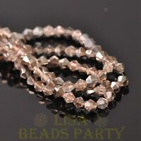 200pcs 4mm Faceted Bicone Loose Spacer Glass Beads Lt Champagne