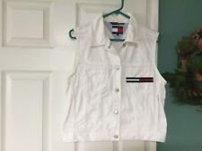 Women's VINTAGE Tommy Hilfiger Jeans White Denim Vest Size Medium (CON17)