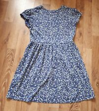 Girls Cute Blue Floral Dress Age 8 - 9 Cotton Mix