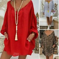 Casual Long Sleeve Loose Women Pullover Blouse Plus Size V-neck Tunic Shirt