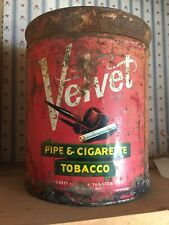 New listing Vintage Velvet Pipe & Cigaretto Tobacco Tin Container
