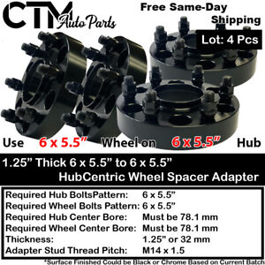 """4PC 1.25"""" THICK 6X5.5 78MM HUBCENTRIC WHEEL ADAPTER SPACER FIT 6LUG CHEVY GMC"""