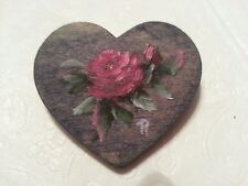 "Wooden heart fashion pin with deep pink rose hand painted - 2"" x 2"" x 1/8"" thick"
