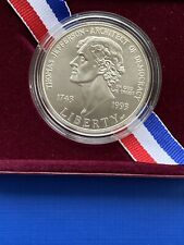 More details for thomas jefferson 250th anniversary silver dollar boxed