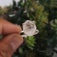 Raw Herkimer Diamond Adjustable Ring 925 Sterling Silver Engagement Ring