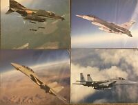 Vintage Fighter Jet Poster Lot F-4 Phantom II, F-14 Tomcat, F-16 Falcon, F-15