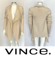 $495 Vince Natural Beige Ribbed Yak Wool Draped Open Cardigan Sweater Sz XS