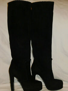 GIANMARCO LORENZI OVER THE KNEE SUEDE PULL UP PLATFORM HEEL BOOTS SIZE 36