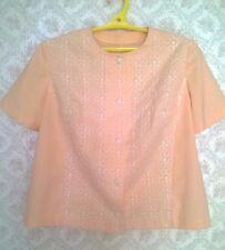 Vintage 60s  Woman's Linen  Embroidered Jacket Blouse Top Shirt Size L