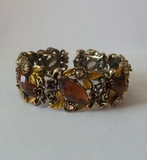 NEW Chunky Orange Flower Crystal Bangle Bracelet Rhinestones Gold Jewellery Girl