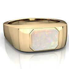 925 Sterling Silver Natural Ethiopian Fire Opal Gem Stone Men's Ring