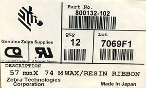 Zebra 800132-102 Wax Resin Ribbon 2.24inx242ft 3200 High Performance 0.5in core