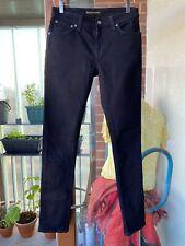 Nudie Jeans Ajustados Lin Negro Etiqueta tamaño 29 Cintura 32 entrepierna de la pierna