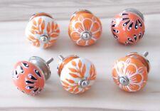 Schrankknöpfe / Möbelknöpfe , Orange,  Muster gemischt  6 Stück im Set, 4 cm Ø