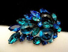 "Rare Vtg 2-1/4"" Signed Regency Japanned Blue Art Glass Rhinestone Brooch Pin A68"