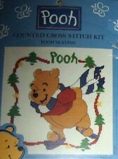 "1 Cute Christmas ""Pooh Skating"" Counted Cross Stitch Kit"
