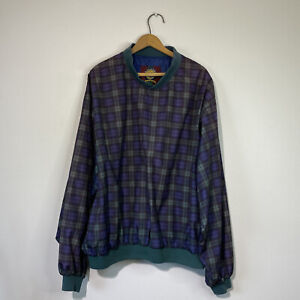 XL Mens Vintage green/Blue Plaid Highlander Windwear Pullover Windbreaker