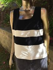 Laura Ashley Women's sleeveless tank Size 14 cream/black lined MSRP $88.00