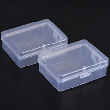 2PCS Small Transparent Plastic Storage Box Clear Square Multipurpose Display TC