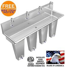 """Hands Free Sink 4 Station 84"""" Single Pedal Valve Action With Columns Made In Usa"""
