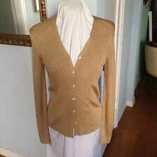 Women's Size L Ralph Lauren Gold Metallic Button Down Long Sleeve Sweater