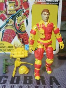 GI JOE ~ 1984 BLOWTORCH ~ HIGH GRADE ~ with UNPUNCHED FULL CARD ~ 100% COMPLETE