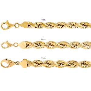 "14k Yellow Gold Rope Chain Twist Link 7mm-9mm Necklace Bracelet Men Women 8""-30"""
