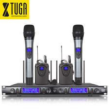 XTUGA EW240 4 Channel UHF Wireless Microphone System 2 Handheld & 2 Bodypack Mic