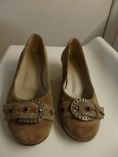Lovely Suede light Coffee Colour Ladies Shoes with Attractive Buckle. Size 4