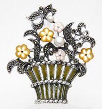 Brosche Blumenkorb  Perle Perlmutt Markasit & Emaille  925 Sterling Silber